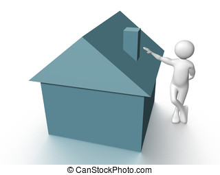 House owner - A happy house owner. Real State. Conceptual...