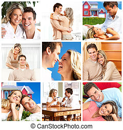 couple in love at home - Happy smiling couple in love at...