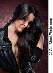 mulher, cabelo, pretas, atraente, Retrato, excitado