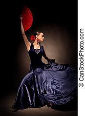 joven, mujer, bailando, Flamenco, negro