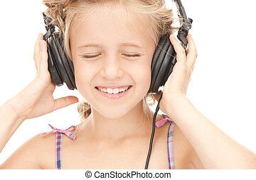 happy girl in big headphones