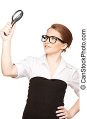 woman with magnifying glass - picture of woman with...