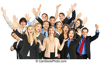 Business people - Large group of smiling business people...