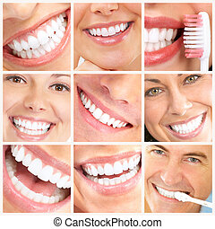 Smile and teeth - Faces of smiling people. Healthy teeth....