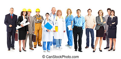 workers people - Large group of smiling workers people. Over...