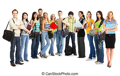 Students - Big group of the young smiling students. Over...