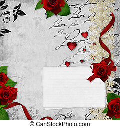 vintage weddings  card with roses and text love