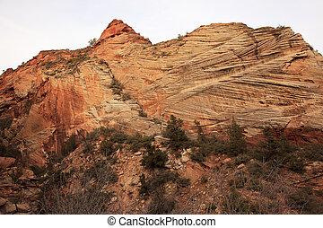 Orange White Checkerboard Mesa Stratified Rocks Zion Canyon...