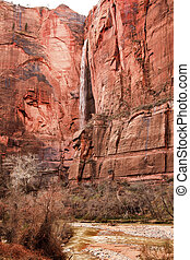 Temple of Sinawava Waterfall Red Rock Wall Virgin River Zion...
