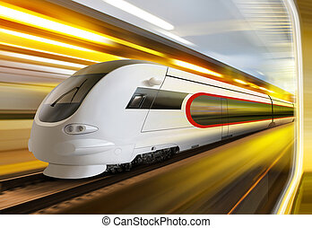 super streamlined train in tunnel - super streamlined train...