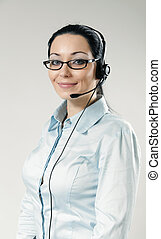 Sexy smiling call center operator portrait Sexy girl wearing...