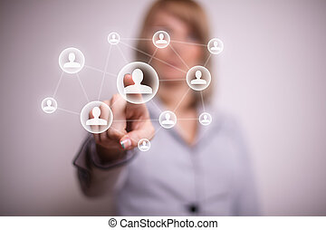 pressing social net button with one hand