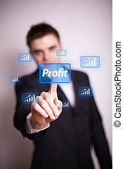 pressing profit icon with one hand - Man pressing Profit...