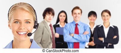 Customer service - Smiling business woman with headset and...