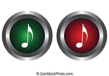 Two buttons with notes