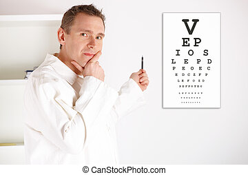 Oculist doctor examining patient - Serious male oculist...