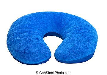 Blue  neck pillow, isolated on a white background.