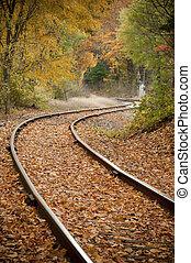 ferrovia, trilhas, outono