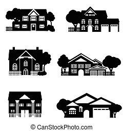 unique, famille, Maisons