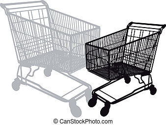 shopping cart, vector - shopping cart silhouette, vector...