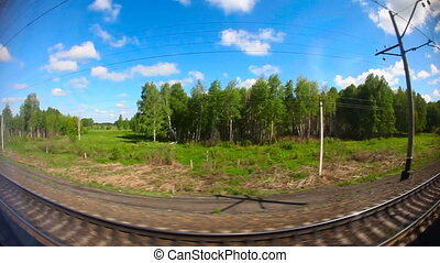 From train - Siberian landscape through the window of an...