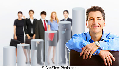 Business people team and graph. Isolated over white...