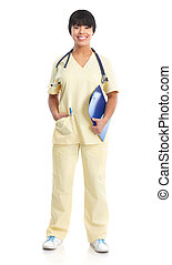 medical nurse - Smiling medical nurse with stethoscope...