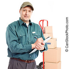 Delivery worker with hand truck Isolated over white...