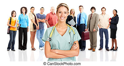 Doctor - Smiling medical doctor and people. Over white...