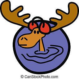 Moose Wearing Earmuffs - Cartoon moose wearing earmuffs.