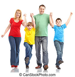 Happy family Father, mother and children Isolated over white...