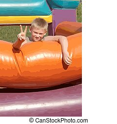 Happy boy on jumping castle