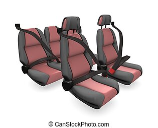 Car seat - 3d illustration, concept image Family car seat,...