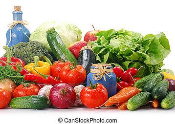 cru, legumes, branca, isolado