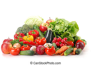 Raw vegetables isolated on white - Composition with fresh...
