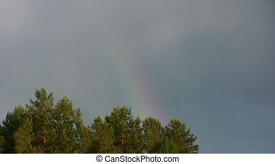 Birth of the rainbow - Natural phenomenon of a rainbow after...