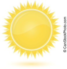 Sun. Weather forecast glossy icon. Vector illustration