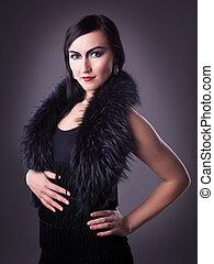 woman in fur boa portrait - retro style make-up