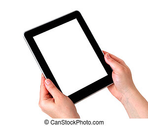 digital tablet in hands with white screen