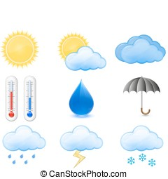 Weather Forecast Icons Outdoor Thermometer, Sun, Cloud, Rain...