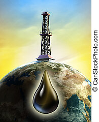 Oil derrick - Conceptual image showing a derrick tower...