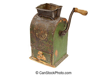 Antigue coffee mill on white background