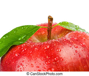 Ripe red apple on a white