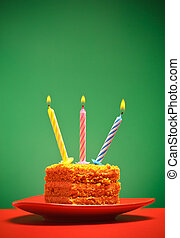Birthday Cake - birthday cake with candle on pink background