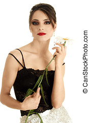 Beautiful woman with daisy flower