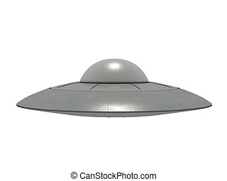 ufo 16 - An isolated metallic ufo hovering on white...