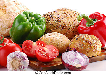 Vegetables and bakery products