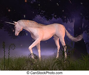 Unicorn in a Misty Forest Glade - Unicorn in a misty forest...