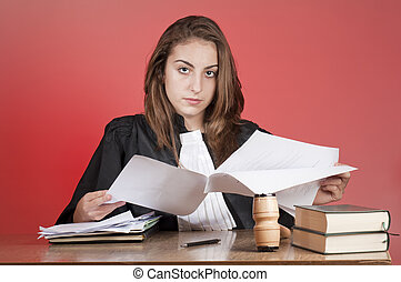 Young lawyer - Young law school student reading files