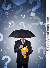 Questions - Businessman is holding an umbrella, question...